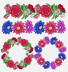 Set of coloring flower brushes and frames vector