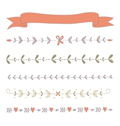 Set of hand drawn floral border elements and a rib vector image