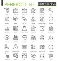 shopping and retail thin line web icons set vector image vector image