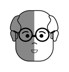 Silhouette old face man with glasses and surprised vector
