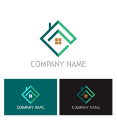 square home realty company logo vector image