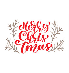 text merry christmas hand written calligraphy vector image vector image