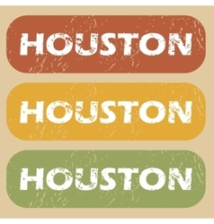 Vintage houston stamp set vector