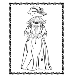 Vintage outfit lady dress vector image