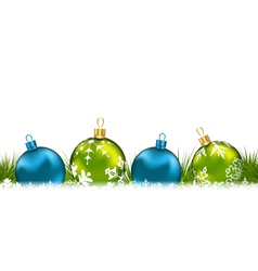 Winter greeting postcard with colorful glass balls vector