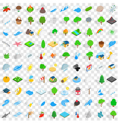 100 nature and landscape icons set vector