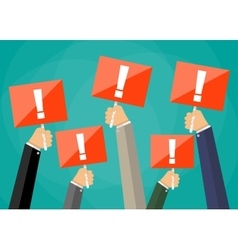 Hands holding sign boards with exclamation mark vector