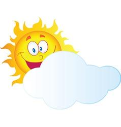 Happy Sun Hiding Behind Cloud vector image