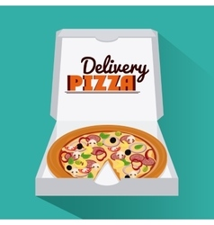 Pizza pie and carton box design vector