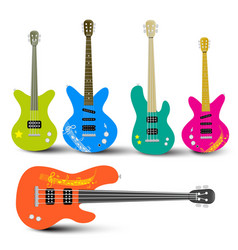 Guitars and bass guitars set abstract musical vector