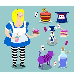 Alice in wonderland icon set fat woman and vector