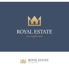 Royal estate logo on blue background vector