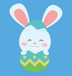 Easter bunny on the egg art vector