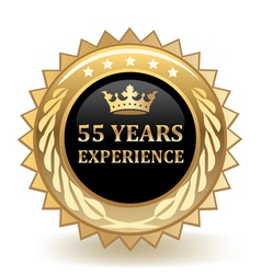 Fifty five years experience badge vector