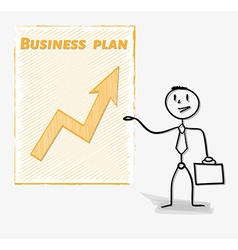 Man and his business plan vector