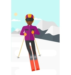 Young man skiing vector