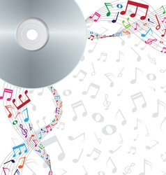 colorful notes floating from cd dvd vector image