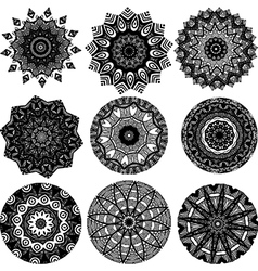 Set of black and white mandalas vector