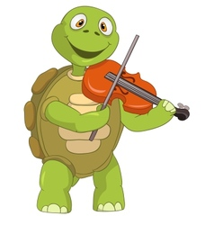 Funny turtle violinist vector