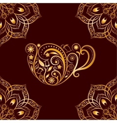 Seamless gold floral cup and mandala vector