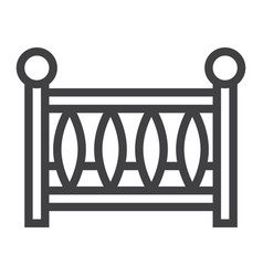 baby crib line icon baby cot and bed vector image vector image