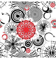 Black and white circles seamless grunge background vector image vector image