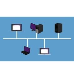 Bus network topology lan design networking vector