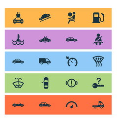 Car icons set with safety vehicle windscreen and vector