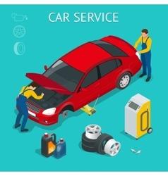 Car service center car service work process vector