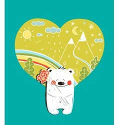 Cartoon Baby Bear with Nature Heart Background and vector image