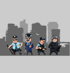 cartoon men in police uniforms vector image vector image