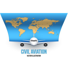 civil aircraft with world map vector image