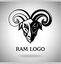 Dark ram goat head with horns template for vector