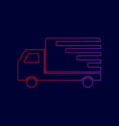 delivery sign line icon with vector image vector image