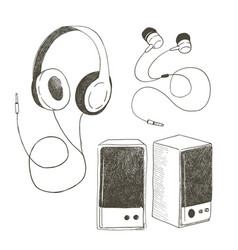 Different earphones and musical columns the vector