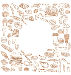 doodle BBQ party icons set vector image vector image