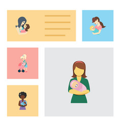 Flat icon mam set of mother woman mam and other vector