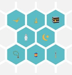 Flat icons mosque genie arabian and other vector