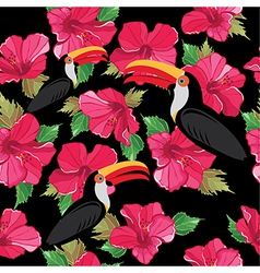 Floral seamless pattern with beautiful toucans vector