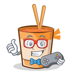 Gamer cup noodles character cartoon vector
