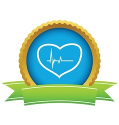 Gold heart beating logo vector image