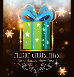 green christmas gift on holiday background vector image vector image