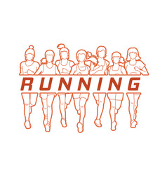 Group of women running with text running vector