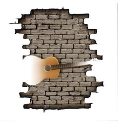 Guitar in the doorway of brick wall vector image vector image