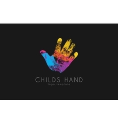 Hand logo design Childs hand logo Colorful logo vector image vector image