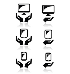 Hands with computer tablet mobile or cell phone vector