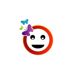 Happy smiley with butterfly vector image vector image