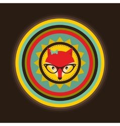 Hipster emblem with lady fox vector image