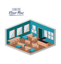 Isometric floor plan of school canteen in colorful vector