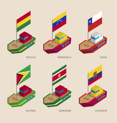isometric ships with flags of european countries vector image